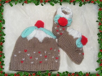 Christmas pud hat and bootee's